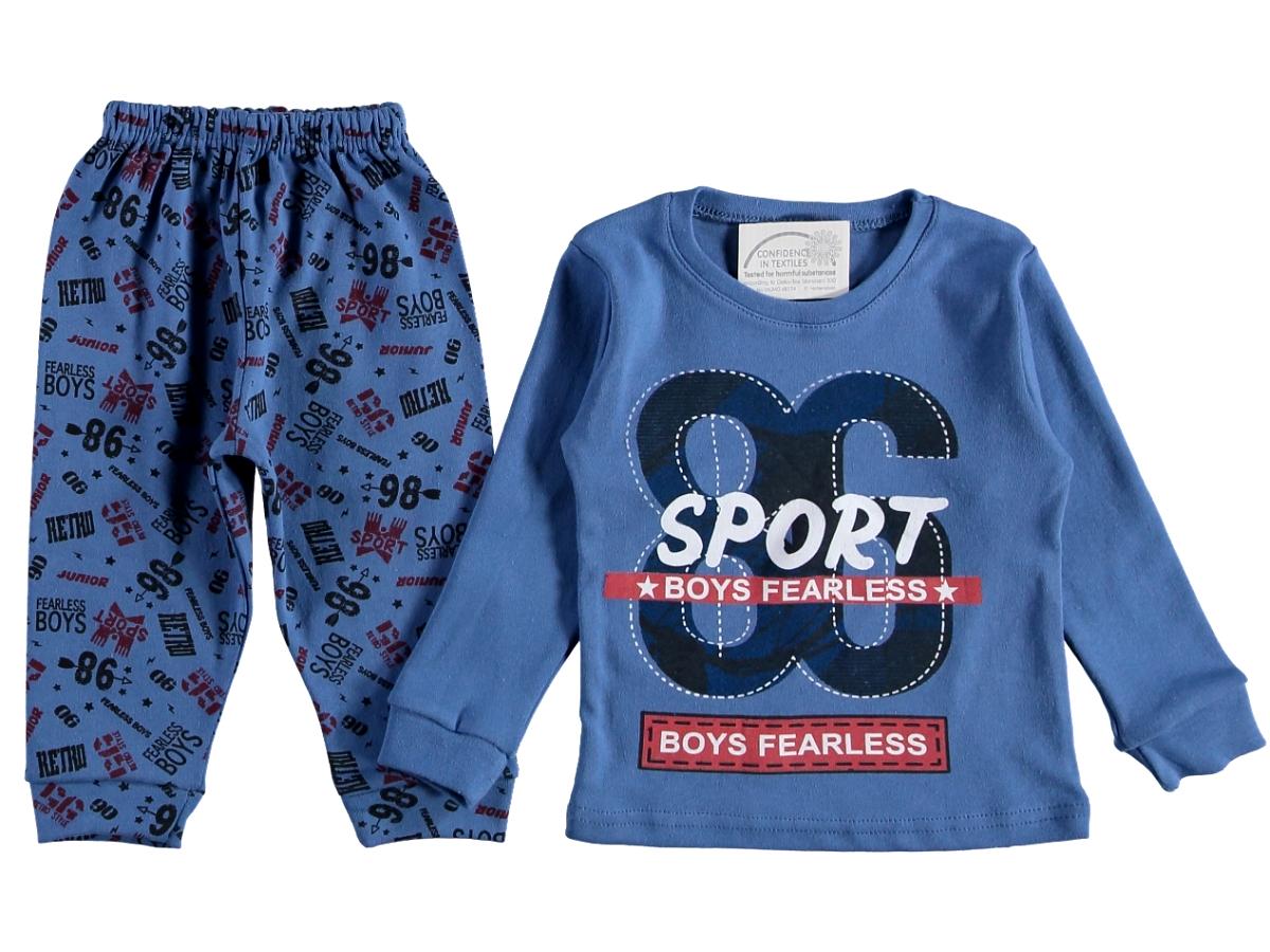 Пижама на мальчика 7/9 лет синяя 316118