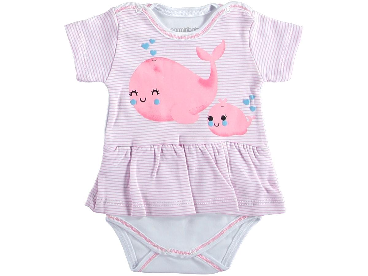 Боди платье 1/9 мес рыбка розовый 321791