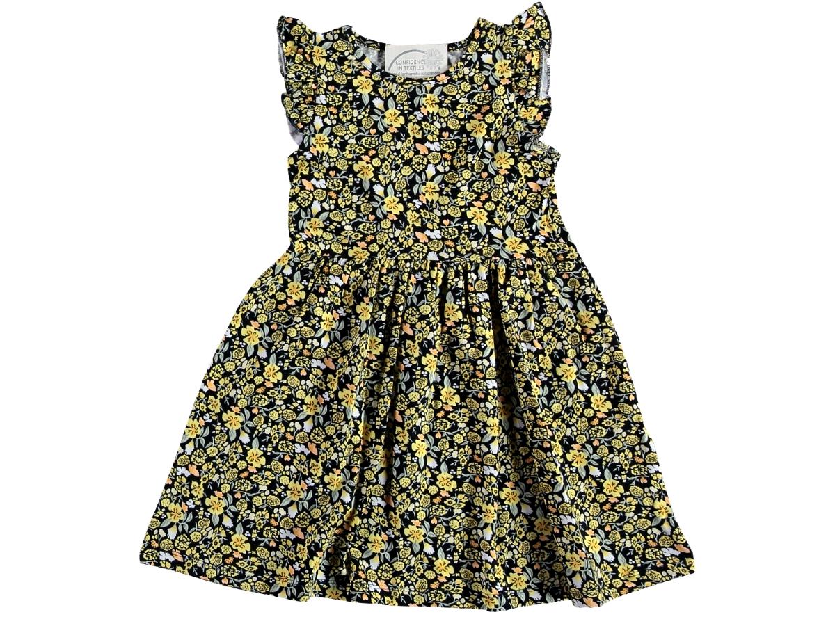 Платье в цветочек 5/8 лет жёлтое 321506